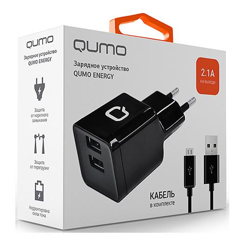 Сетевое зарядное устройство Qumo 2USB 2.1A + кабель microUSB Black фото